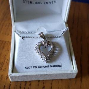NEW 1/2 carat Diamond Heart Pendant Sterling silvr